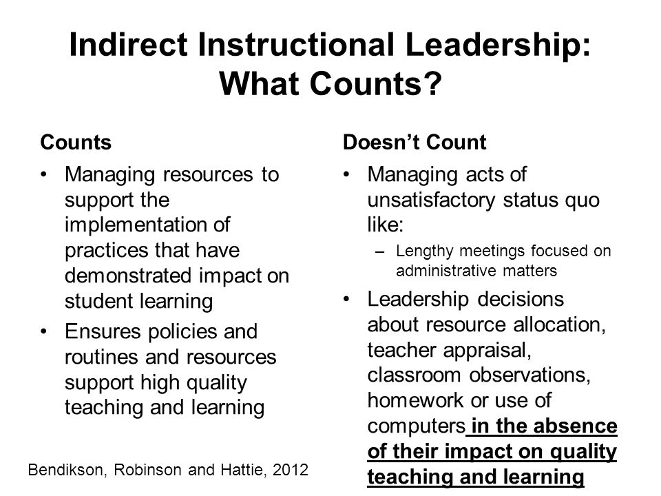 Indirect Instructional Leadership: What Counts