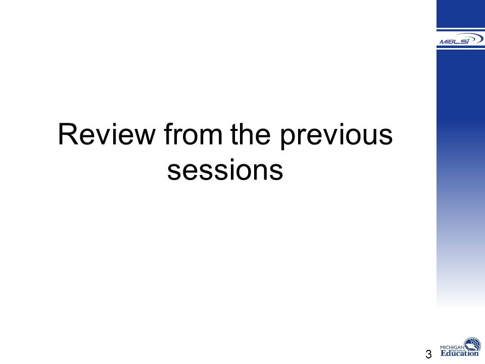 Review from the previous sessions
