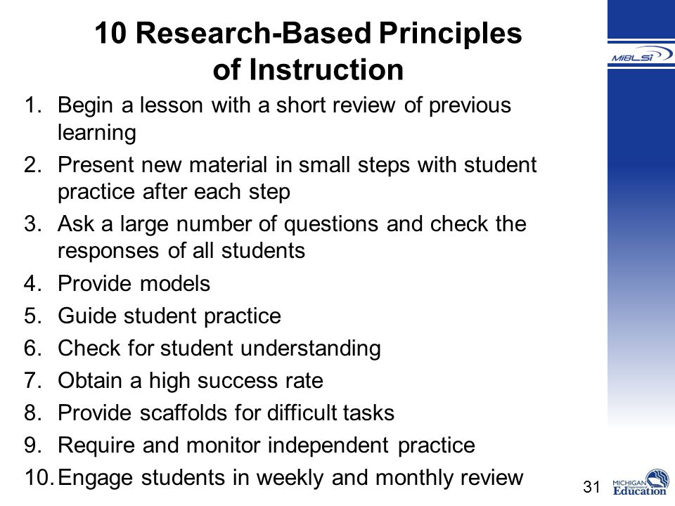 10 Research-Based Principles
