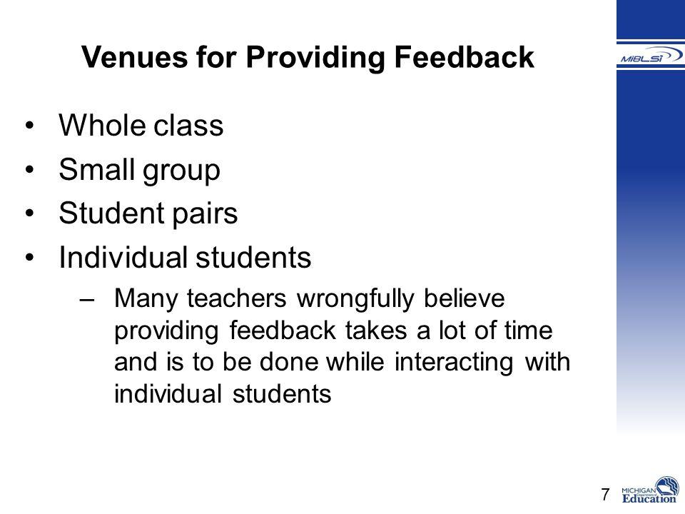 Venues for Providing Feedback