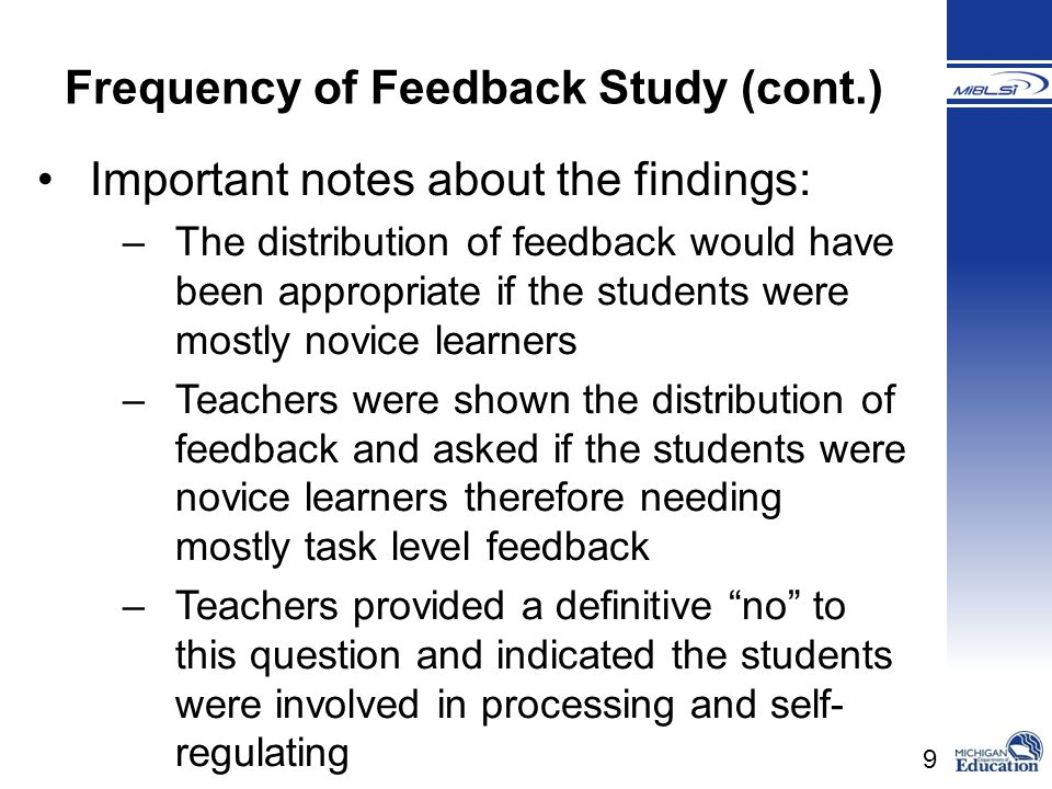 Frequency of Feedback Study (cont.)