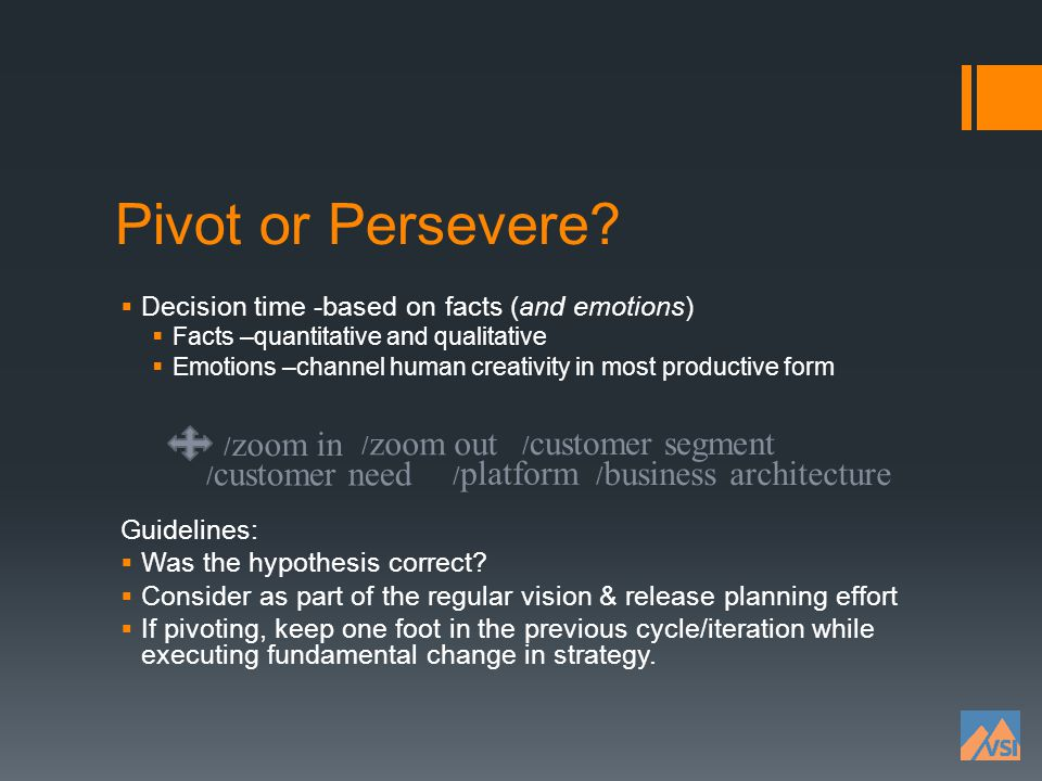 Pivot or Persevere Decision time -based on facts (and emotions)