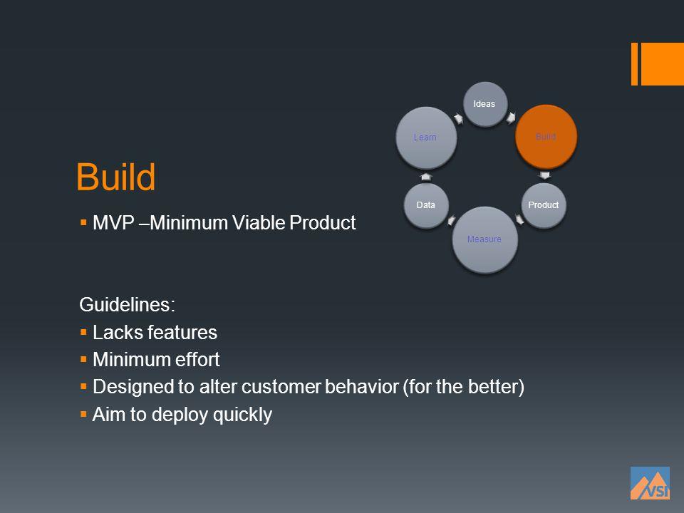 Build MVP –Minimum Viable Product Guidelines: Lacks features