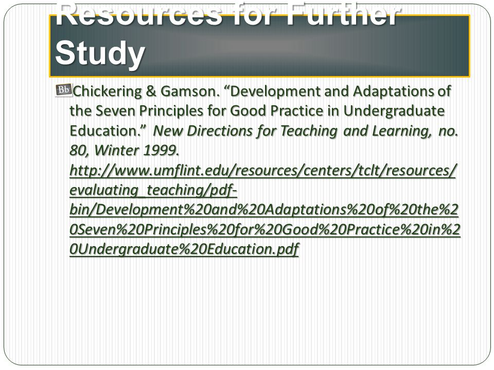 Resources for Further Study