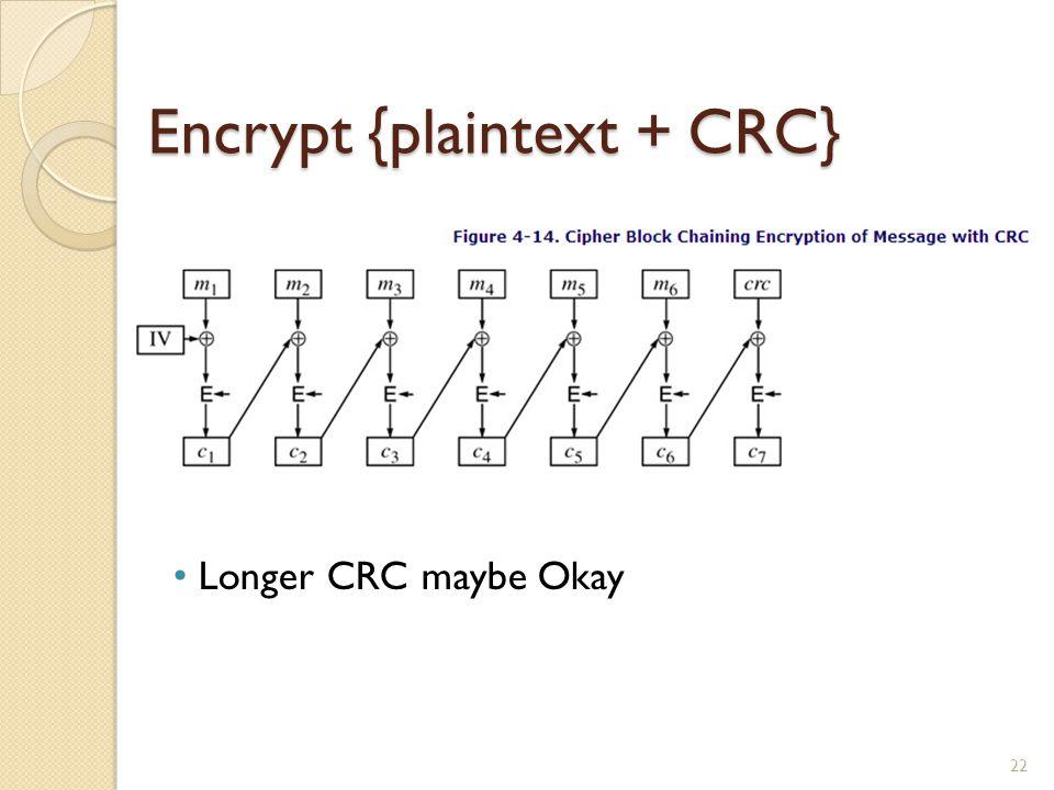 Encrypt {plaintext + CRC}