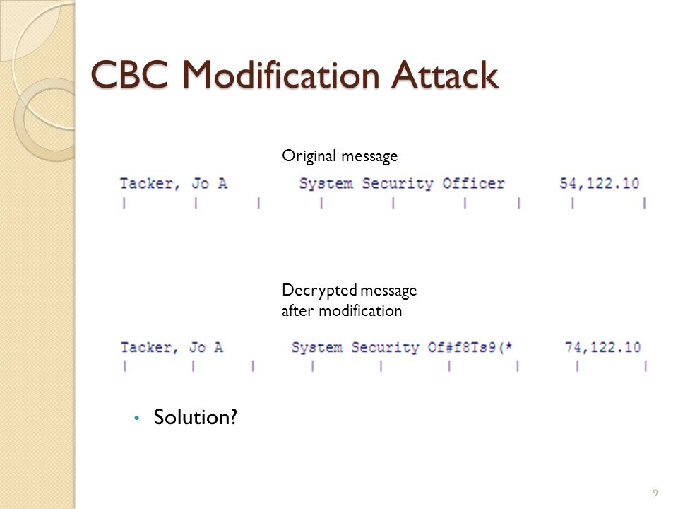 CBC Modification Attack