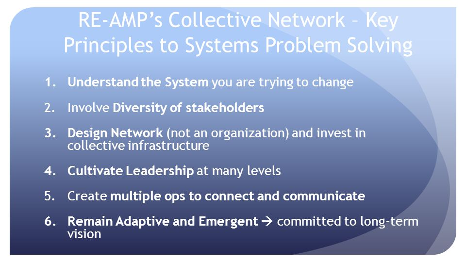RE-AMP's Collective Network – Key Principles to Systems Problem Solving