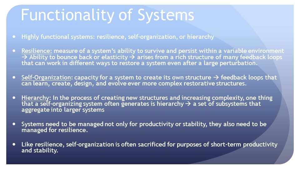Functionality of Systems