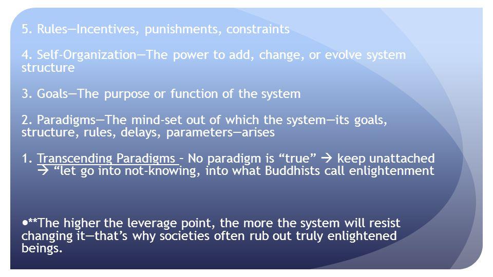 5. Rules—Incentives, punishments, constraints