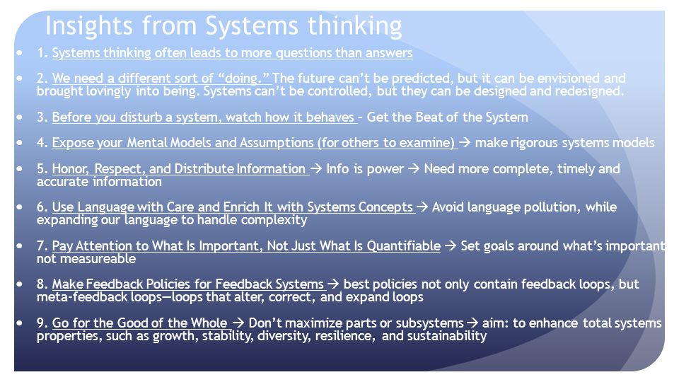 Insights from Systems thinking
