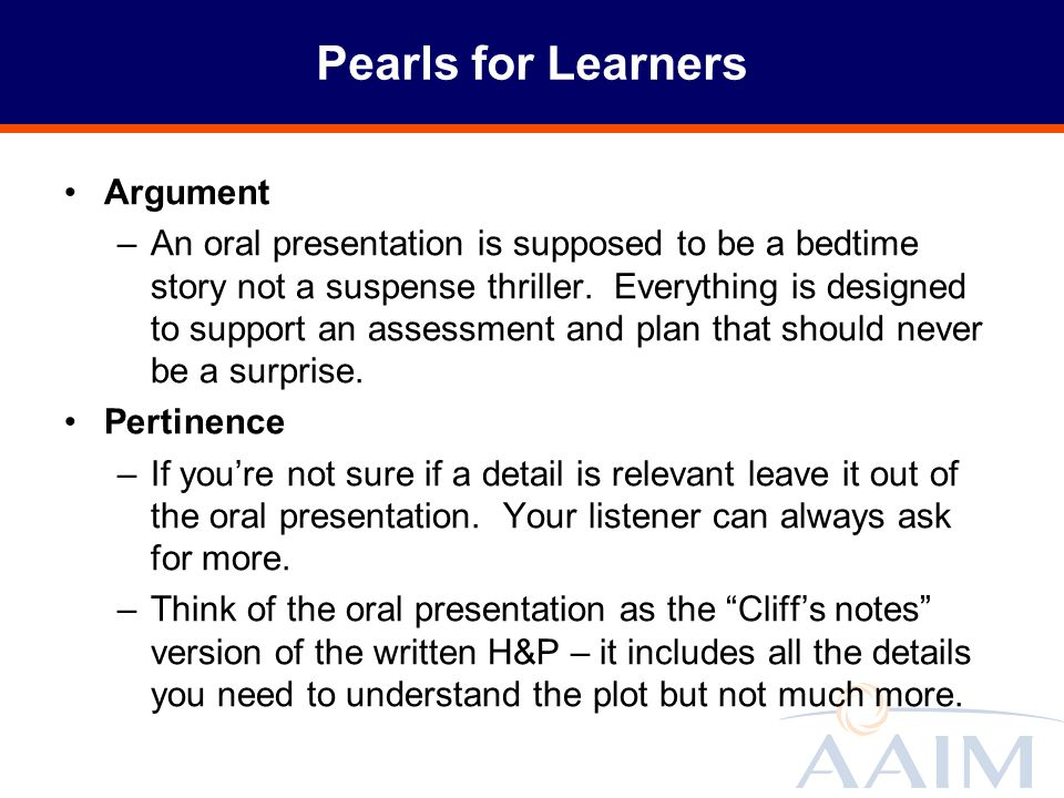 Pearls for Learners Argument