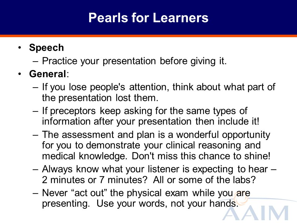 Pearls for Learners Speech