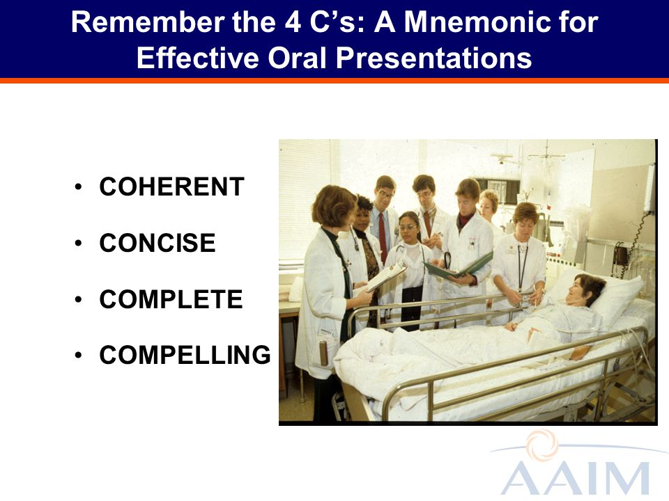 Remember the 4 C's: A Mnemonic for Effective Oral Presentations