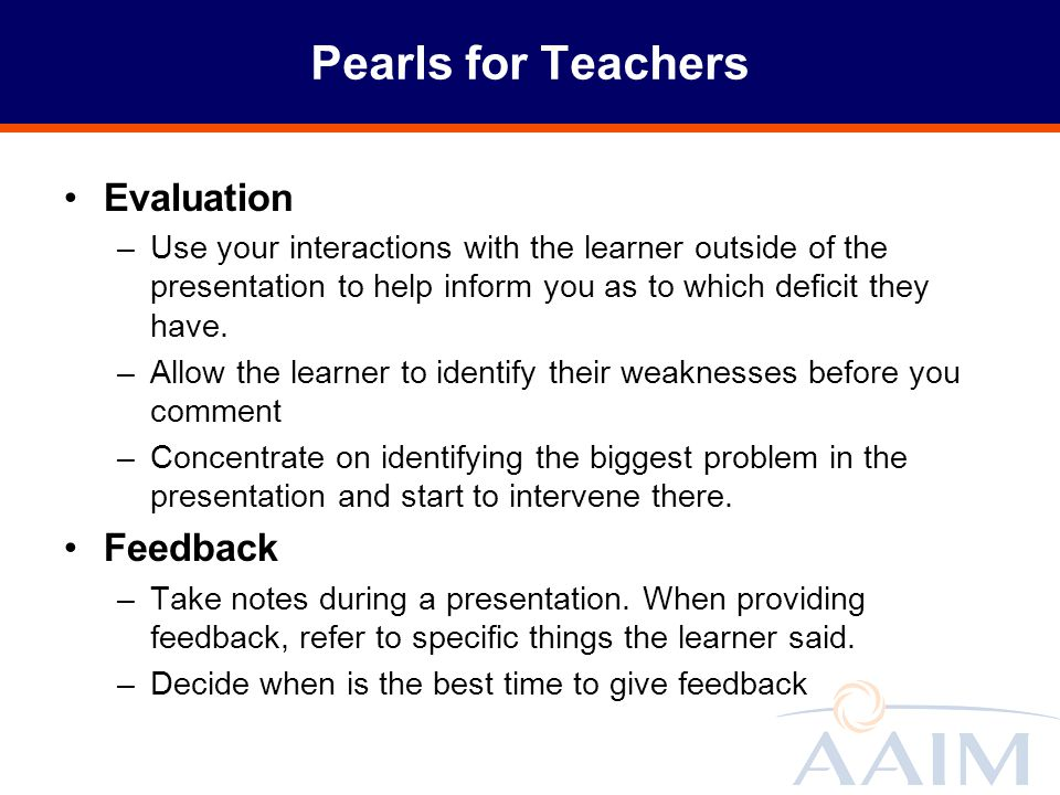 Pearls for Teachers Evaluation Feedback