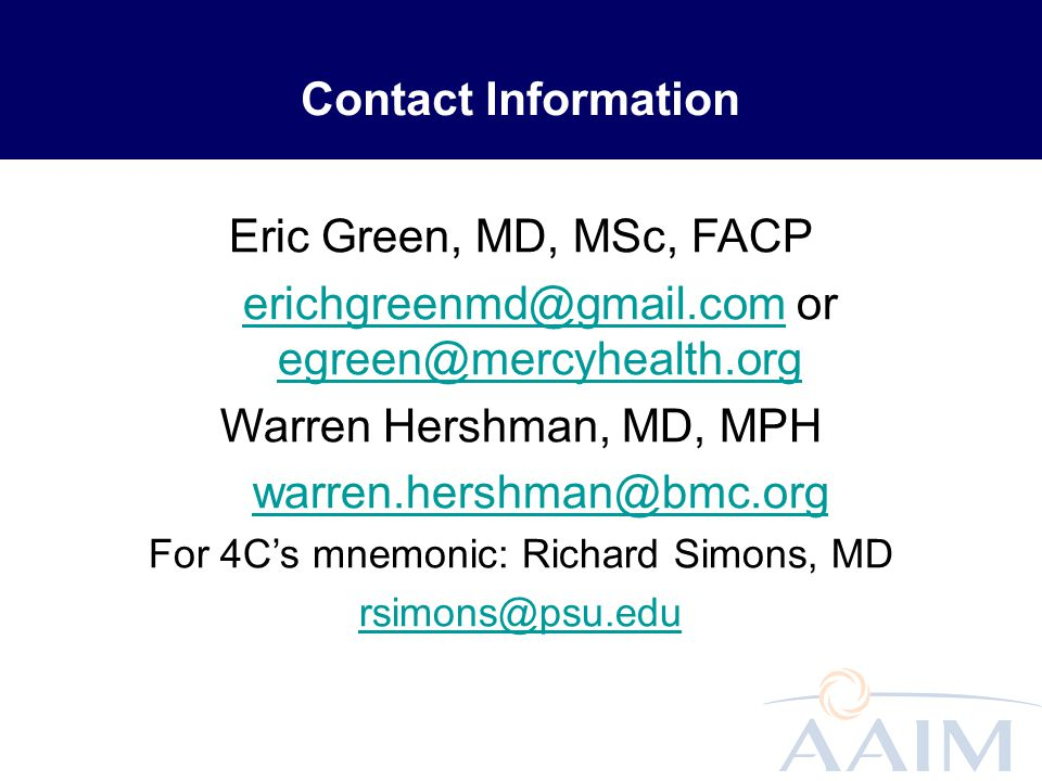 erichgreenmd@gmail.com or egreen@mercyhealth.org