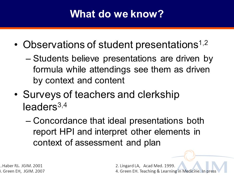 Observations of student presentations1,2