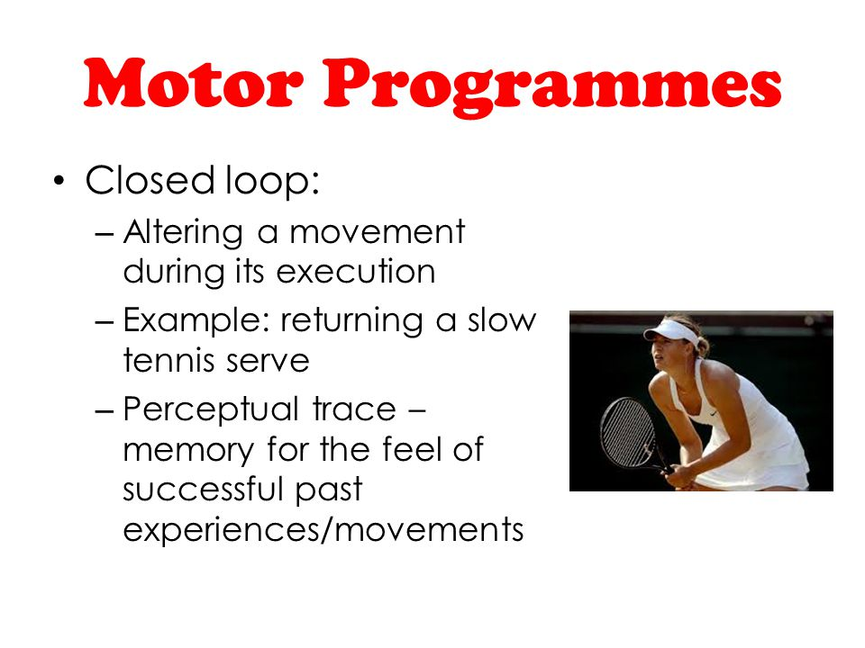Motor Programmes Closed loop: Altering a movement during its execution