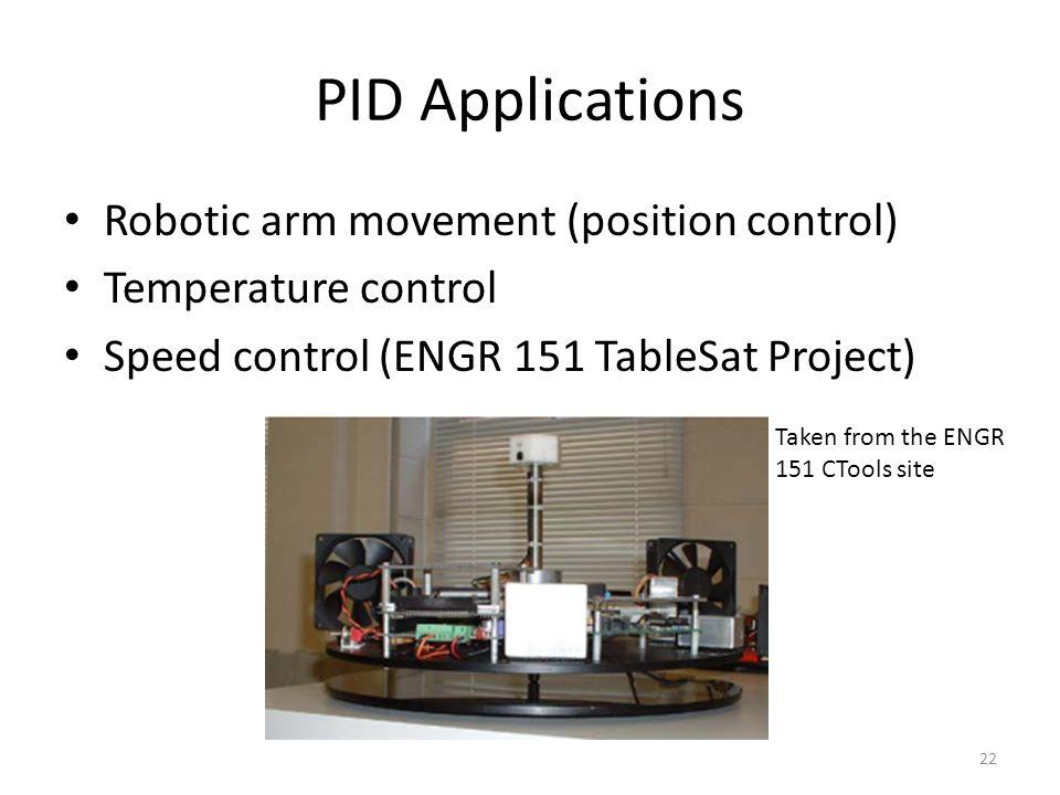 PID Applications Robotic arm movement (position control)