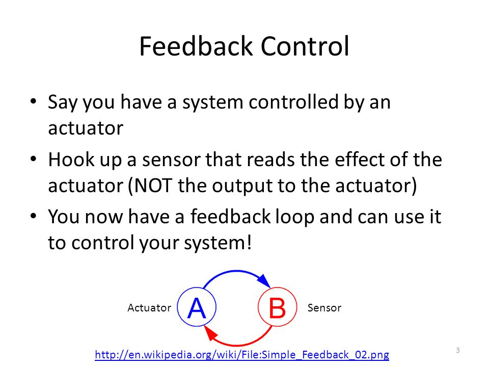 Feedback Control Say you have a system controlled by an actuator
