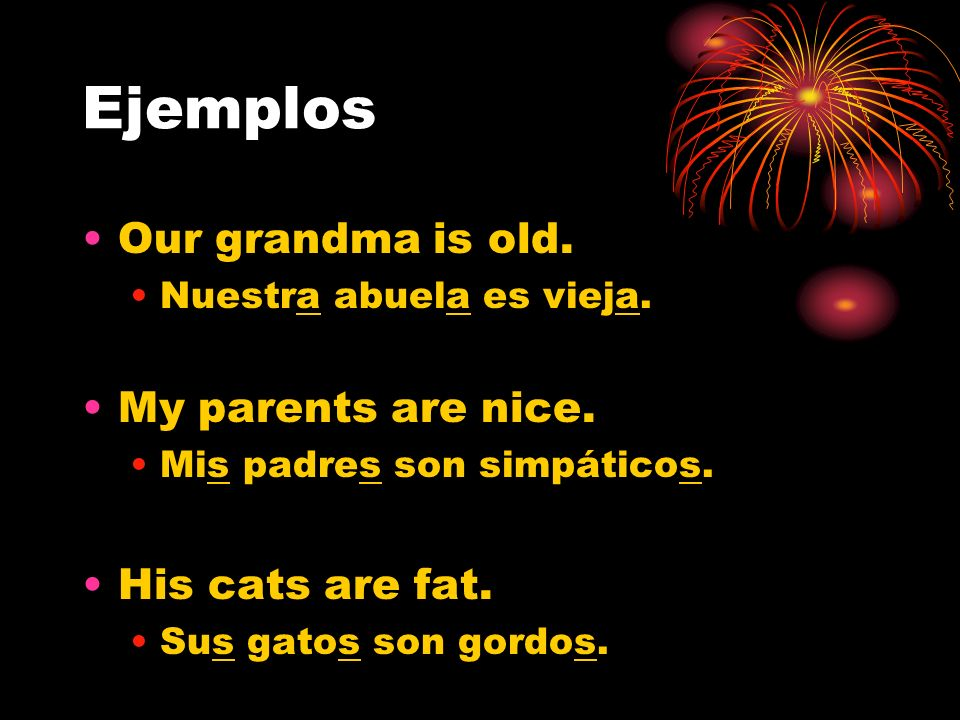 Ejemplos Our grandma is old. My parents are nice. His cats are fat.