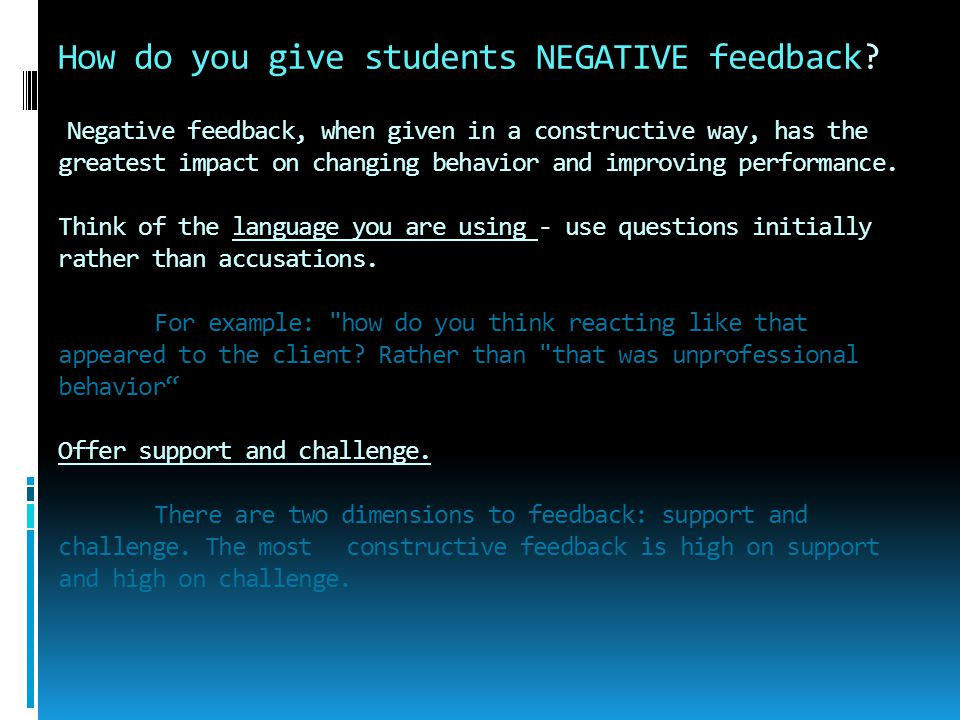 How do you give students NEGATIVE feedback