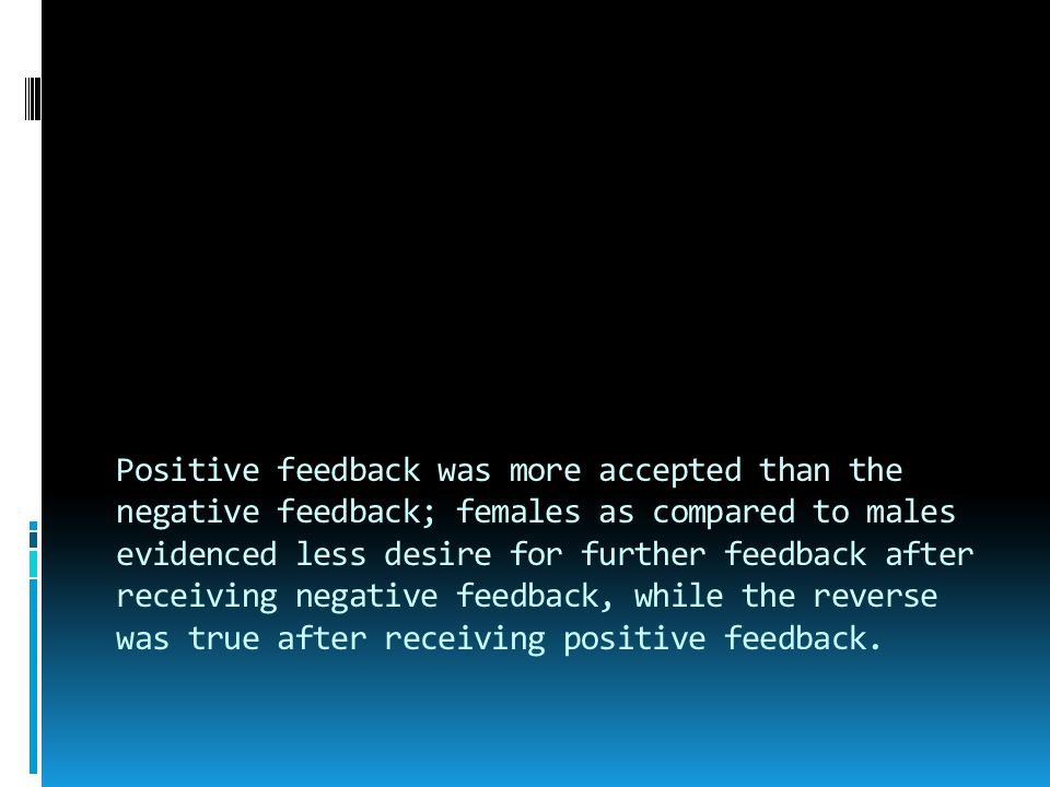 Positive feedback was more accepted than the negative feedback; females as compared to males evidenced less desire for further feedback after receiving negative feedback, while the reverse was true after receiving positive feedback.