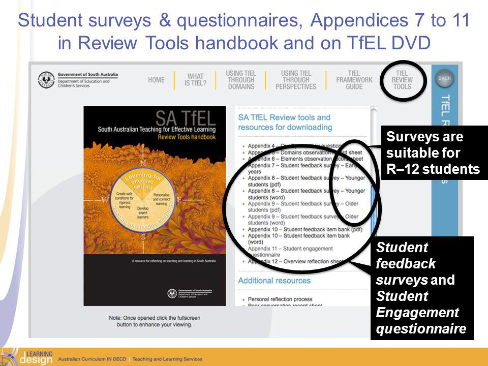 Student surveys & questionnaires, Appendices 7 to 11 in Review Tools handbook and on TfEL DVD