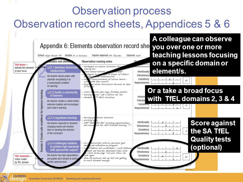 Observation process Observation record sheets, Appendices 5 & 6