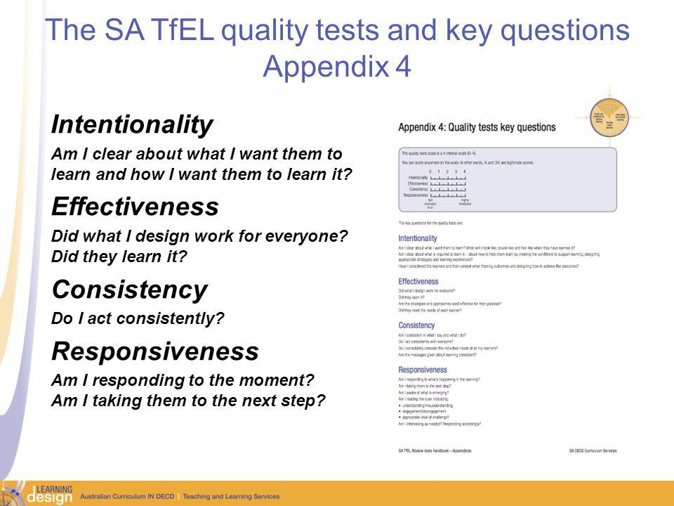 The SA TfEL quality tests and key questions