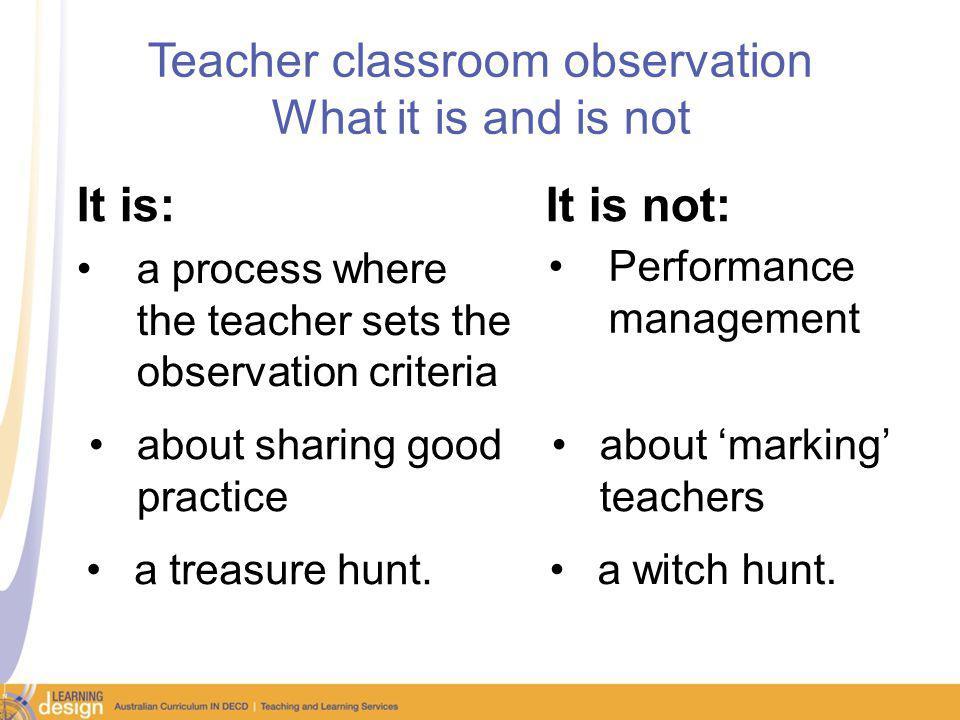 Teacher classroom observation