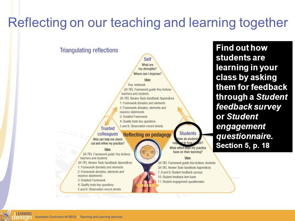 Reflecting on our teaching and learning together