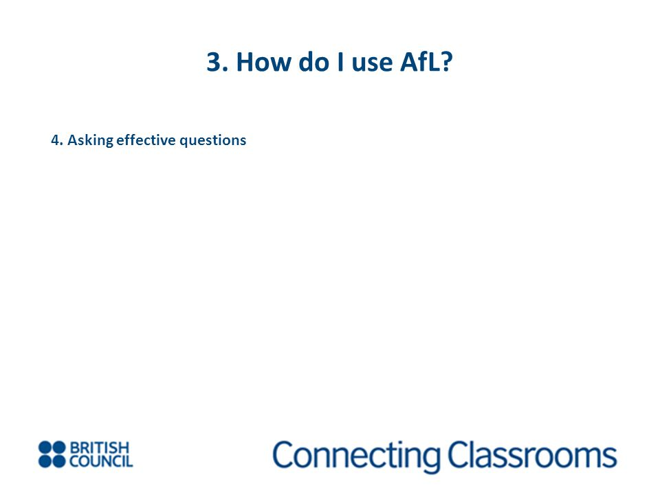 3. How do I use AfL 4. Asking effective questions