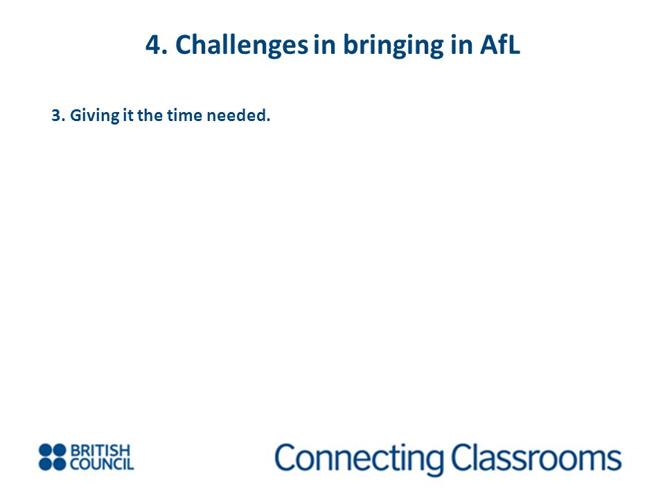 4. Challenges in bringing in AfL