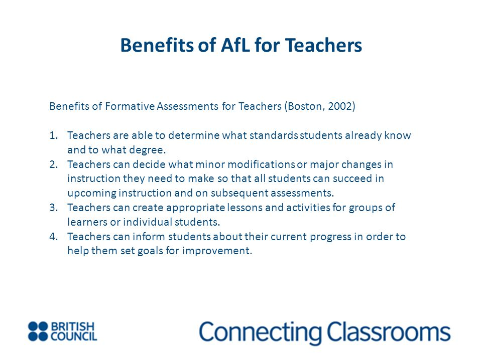 Benefits of AfL for Teachers
