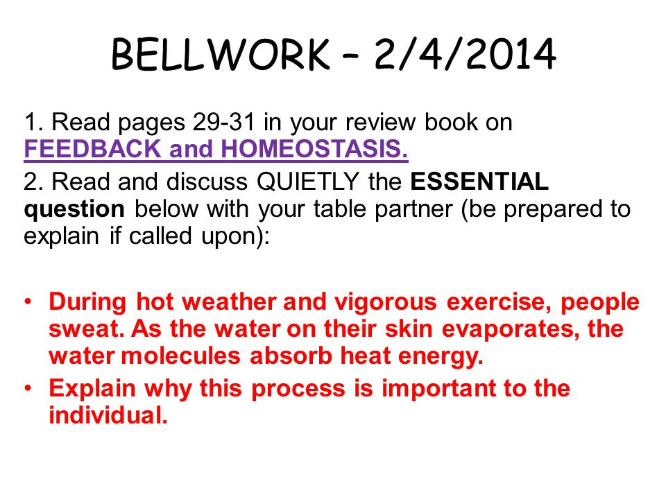 BELLWORK – 2/4/2014 1. Read pages 29-31 in your review book on FEEDBACK and HOMEOSTASIS.