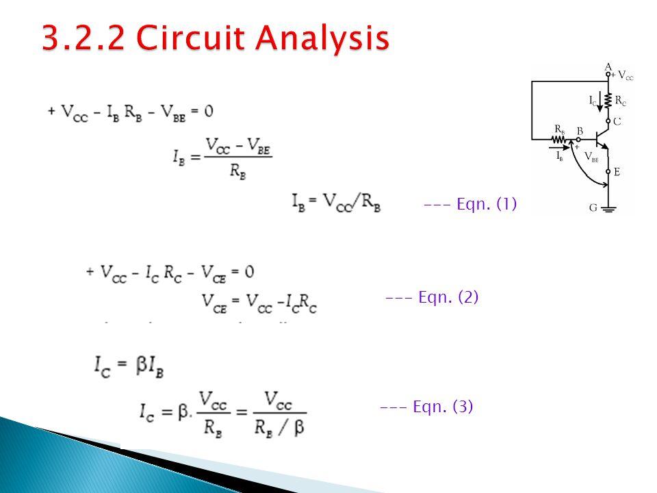 3.2.2 Circuit Analysis --- Eqn. (1) --- Eqn. (2) --- Eqn. (3)