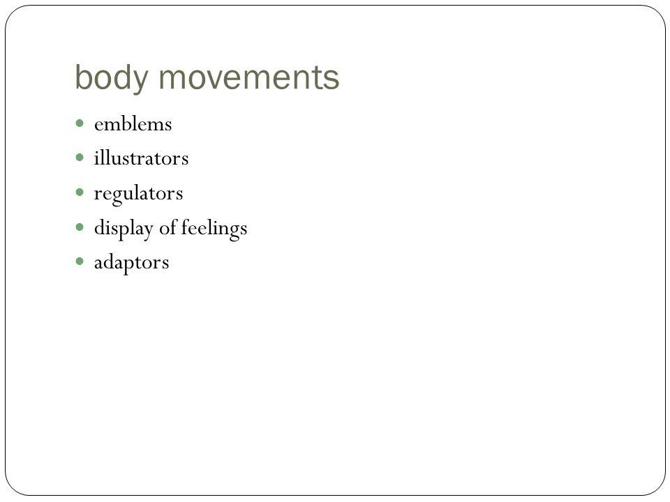 body movements emblems illustrators regulators display of feelings