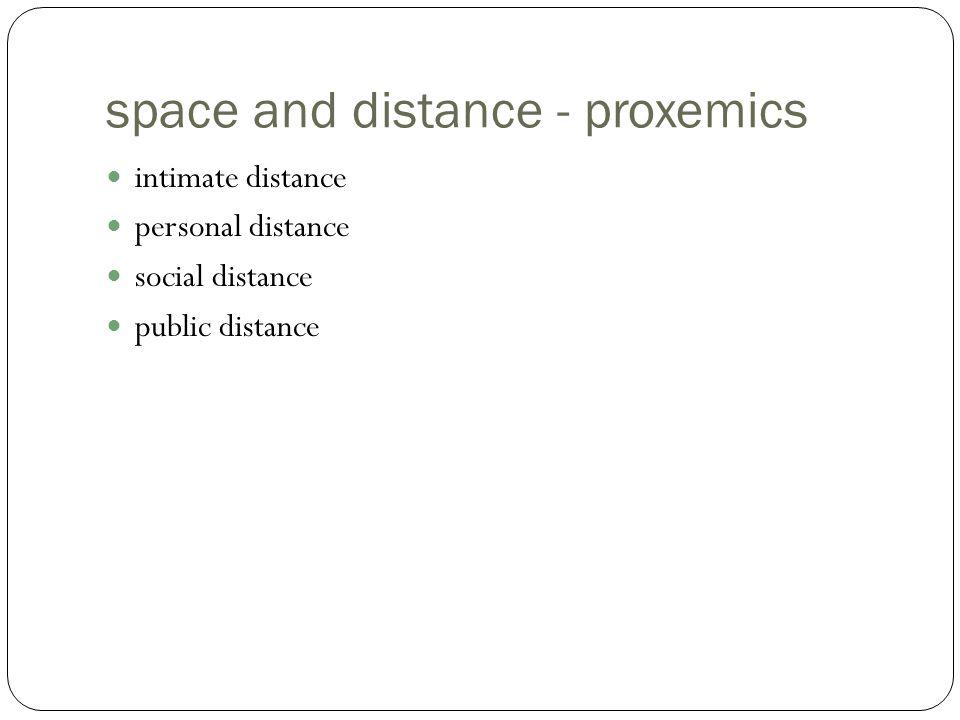 space and distance - proxemics