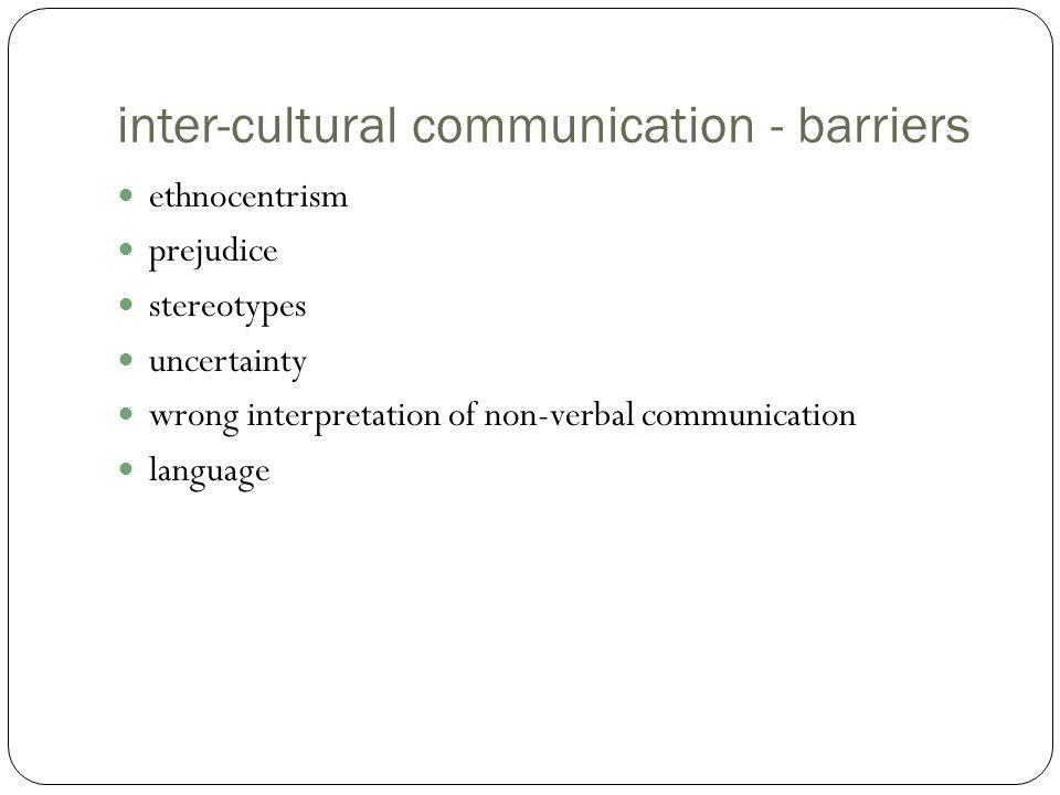 inter-cultural communication - barriers