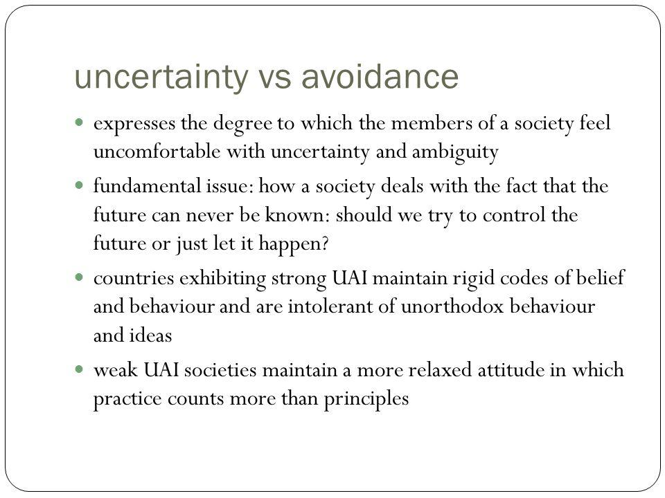 uncertainty vs avoidance