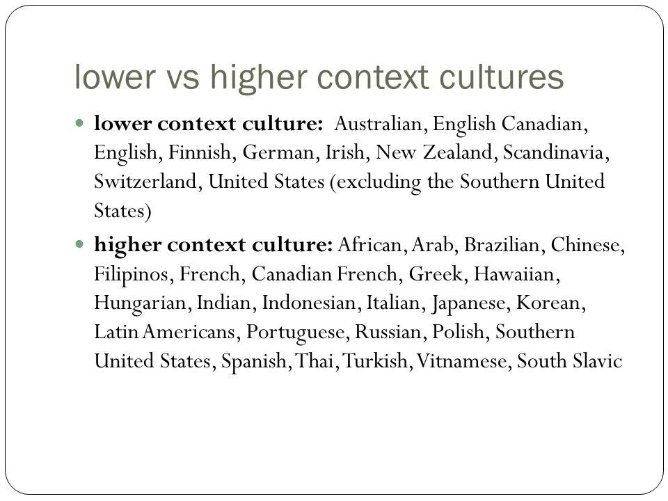 lower vs higher context cultures