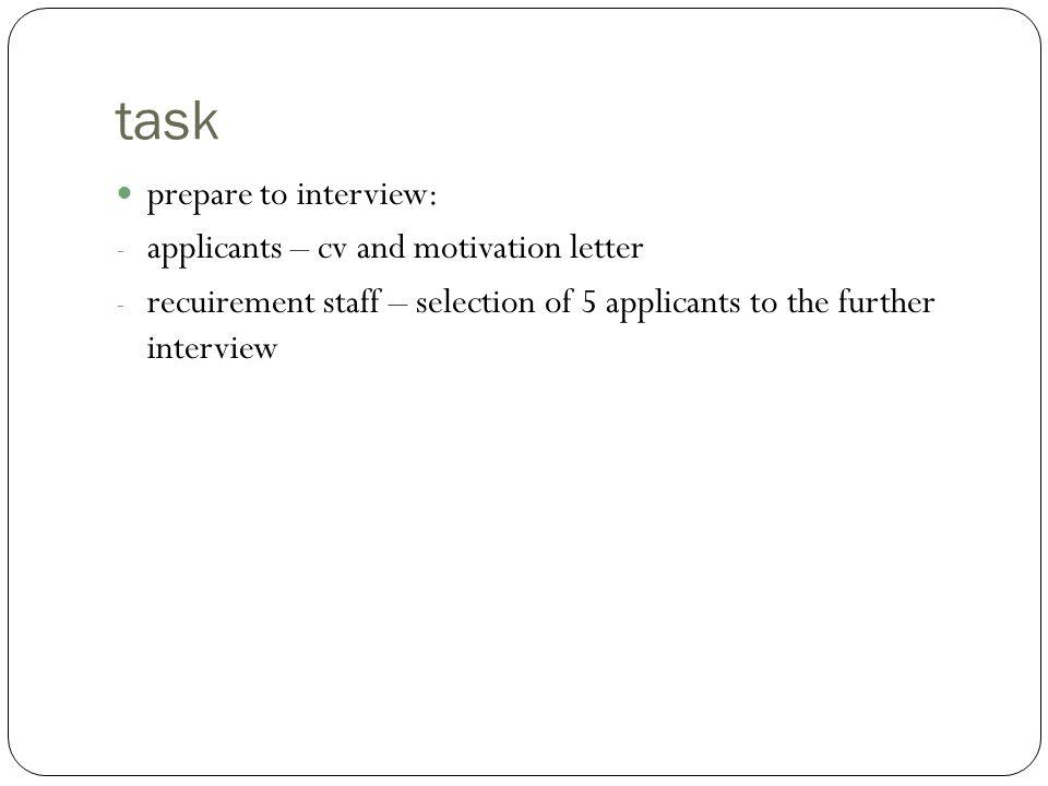 task prepare to interview: applicants – cv and motivation letter