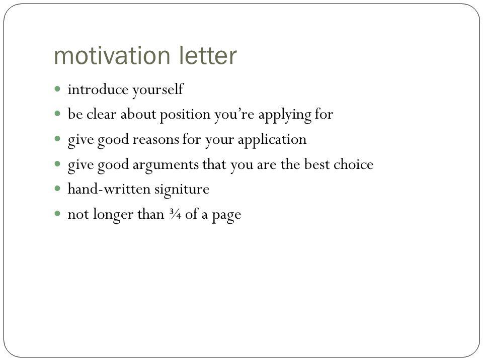 motivation letter introduce yourself