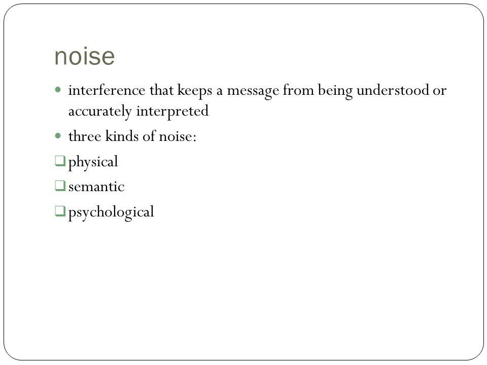 noise interference that keeps a message from being understood or accurately interpreted. three kinds of noise:
