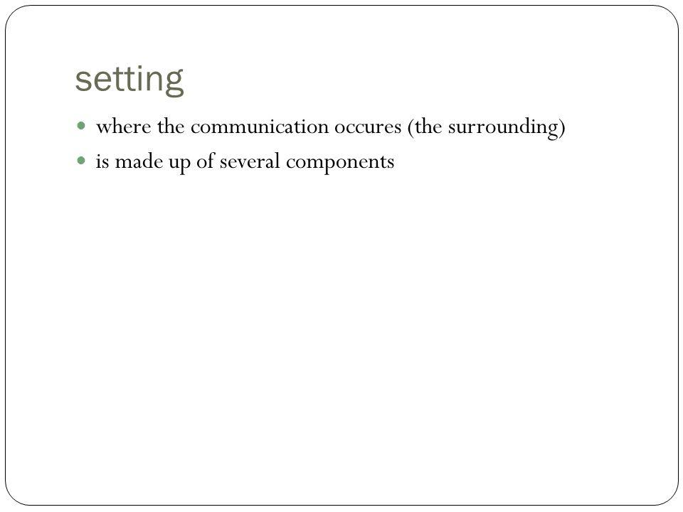 setting where the communication occures (the surrounding)