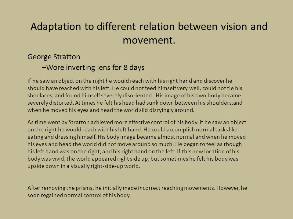 Adaptation to different relation between vision and movement.