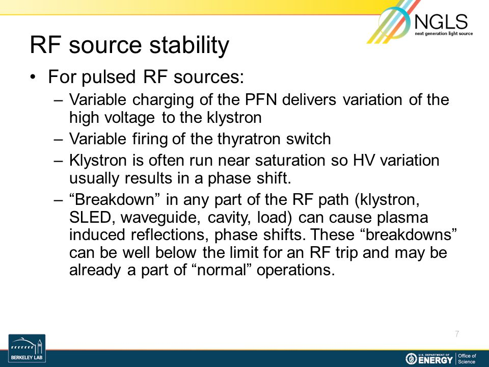 RF source stability For pulsed RF sources: