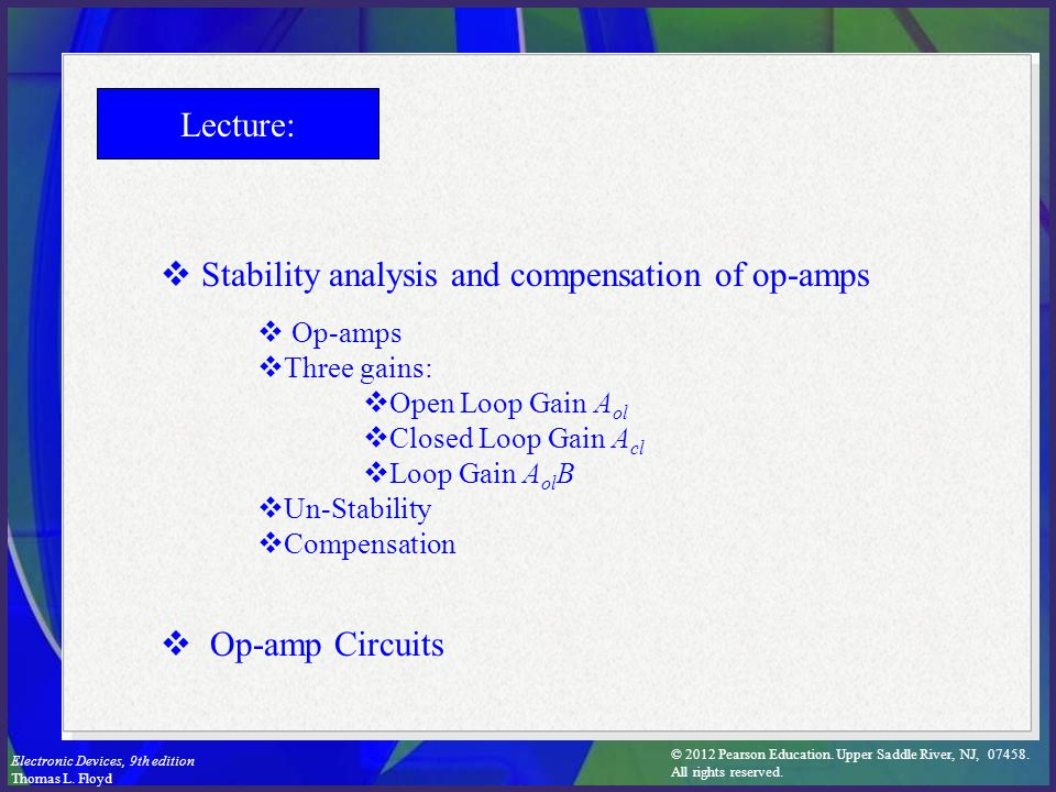 Stability analysis and compensation of op-amps