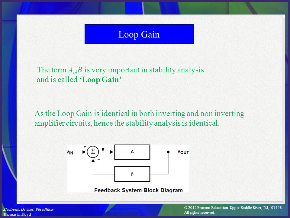 Loop Gain The term AolB is very important in stability analysis and is called 'Loop Gain'