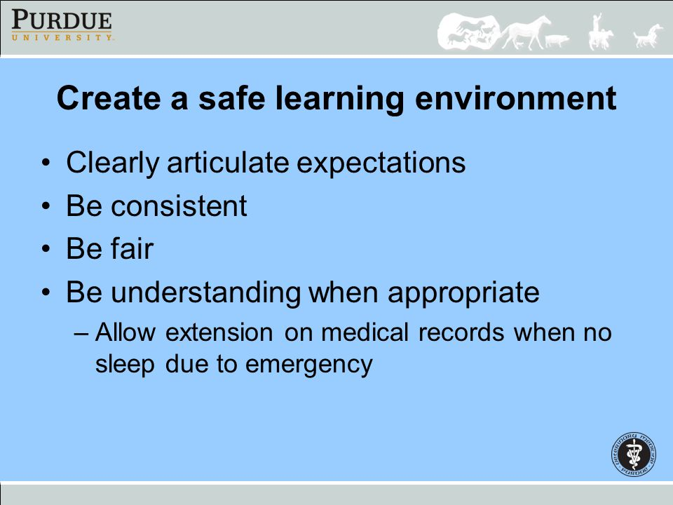 Create a safe learning environment